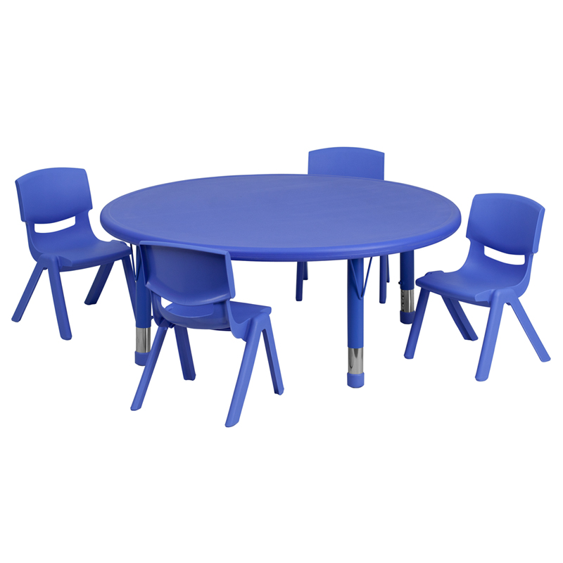 45 Round Adjustable Blue Plastic Activity Table Set with 4 School