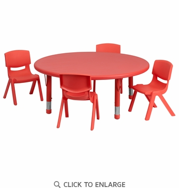 45'' Round Adjustable Red Plastic Activity Table Set with 4 School Stack Chairs