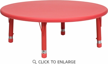 45'' Round Height Adjustable Red Plastic Activity Table