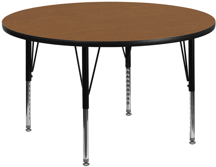 48 Round Activity Table With Oak Thermal Fused Laminate Top And Height Adjustable Preschool Legs