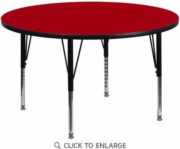 48'' Round Activity Table with Red Thermal Fused Laminate Top and Height Adjustable Preschool Legs