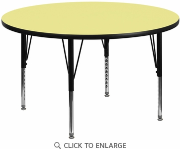 48'' Round Activity Table with Yellow Thermal Fused Laminate Top and Height Adjustable Preschool Legs