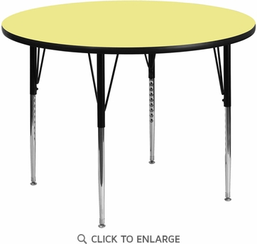 48'' Round Activity Table with Yellow Thermal Fused Laminate Top and Standard Height Adjustable Legs