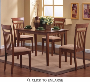 5 Piece Wood Dinette Dining Set in a Walnut Finish