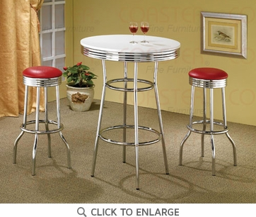 50's Retro Soda Fountain Bar Table Set by Coaster 2300-2299R