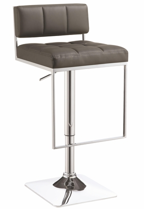 Adjustable Chrome and Gray Low Back Bar Stool with Footrest by Coaster 100195