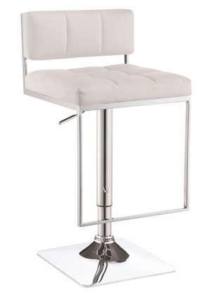 Adjustable Chrome and White Low Back Bar Stool with Footrest by Coaster 100193
