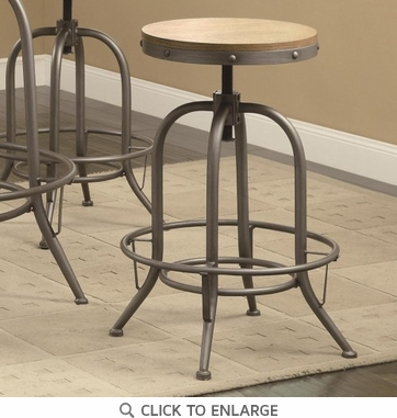 Adjustable Counter Bar Stool in a Gunmetal Finish by Coaster 122098 - Set of 3