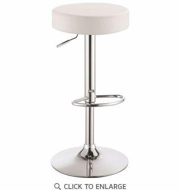Adjustable Height White Backless Bar Stool by Coaster