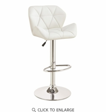Adjustable White and Chrome Stitched Bar Stool  by Coaster 100424 - Set of 3