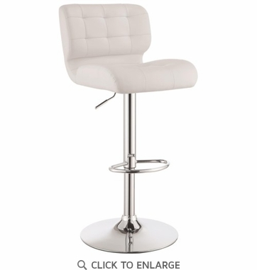 Adjustable White Tufted Upholstery Bar Stool by Coaster 100546 - Set of 2