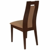 Almont Walnut Finish Wood Dining Chair with Curved Slat Wood and Brown Fabric Seat [ES-CB-3905YBH-W-BGE-GG]