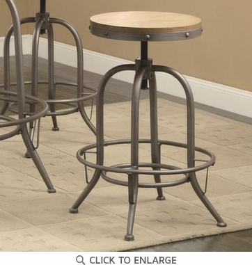 Antique Black Adjustable Bar Stool with Distressed Wood Seat by Coaster 122098 - Set of 2
