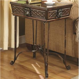 Antique Brown Accent End Table with Inlayed Design by Coaster - 900941
