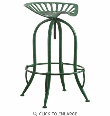 Antique Green Metal Adjustable Height Bar Stool With Tractor Seat
