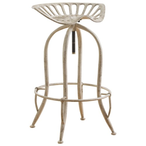 Super Antique White Metal Adjustable Height Bar Stool With Tractor Ibusinesslaw Wood Chair Design Ideas Ibusinesslaworg