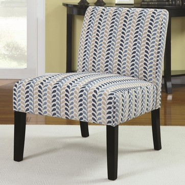 Armless Accent Chair with Blue and Beige Leaf Pattern by Coaster 902059