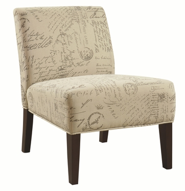 Armless Accent Chair with Vintage French Script Pattern