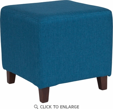 Ascalon Upholstered Ottoman Pouf in Blue Fabric [QY-S09-BLU-GG]