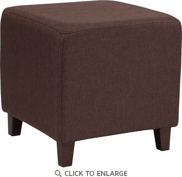 Ascalon Upholstered Ottoman Pouf in Brown Fabric [QY-S09-BRN-GG]