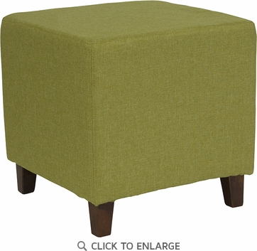 Ascalon Upholstered Ottoman Pouf in Green Fabric [QY-S09-GRN-GG]