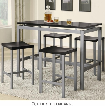 Atlus 5 Piece Counter Height Silver Metal and Black Dining Table Set