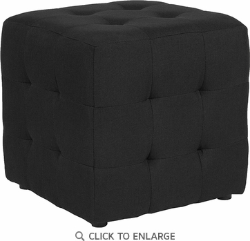 Avendale Tufted Upholstered Ottoman Pouf in Black Fabric [QY-S02-BK-GG]