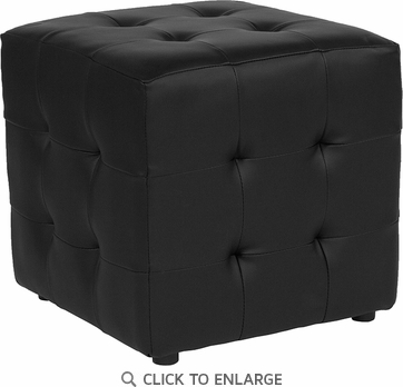 Avendale Tufted Upholstered Ottoman Pouf in Black Leather [QY-S02-BKL-GG]