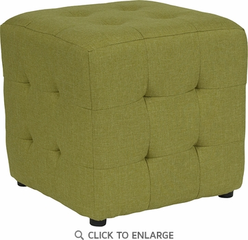Avendale Tufted Upholstered Ottoman Pouf in Green Fabric [QY-S02-GRN-GG]