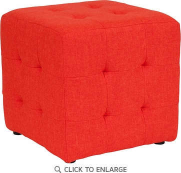 Avendale Tufted Upholstered Ottoman Pouf in Orange Fabric [QY-S02-OR-GG]