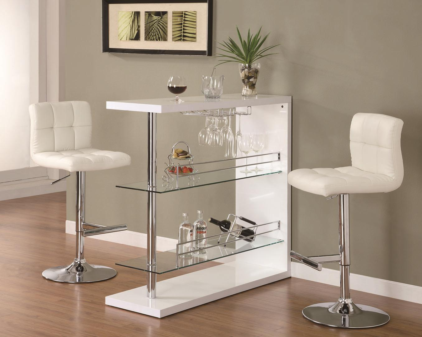 Bar Table Set In Gloss White Finish With 2 Stool By Coaster 100167 120356