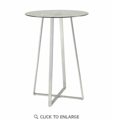 Bar Table with Clear Tempered Glass Top and Chrome Steel Base