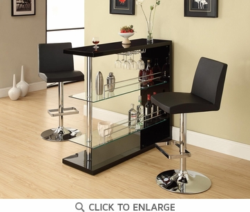 Bar Table with Glass Shelves in Gloss Black Finish