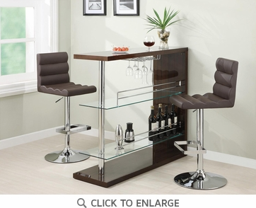Bar Table with Glass Shelves in Gloss Cappuccino Finish by Coaster 100166