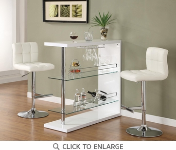 Bar Table with Glass Shelves in Gloss White Finish