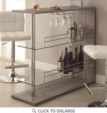 Bar Table with Two Glass Shelves in a Weathered Gray Finish 100156