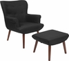 Bayton Upholstered Wingback Chair with Ottoman in Black Fabric [QY-B39-CO-BK-GG]