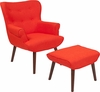 Bayton Upholstered Wingback Chair with Ottoman in Orange Fabric [QY-B39-CO-OR-GG]