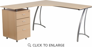 Beech Laminate L-Shape Desk with Three Drawer Pedestal [NAN-WK-113-GG]