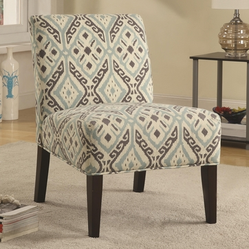 Beige and Brown Armless Accent Chair with Plush Seating by Coaster 902191