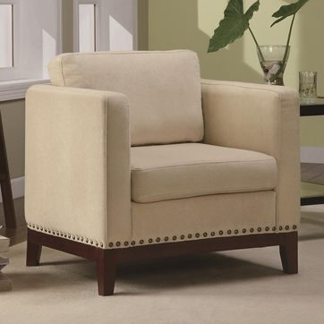 Beige Fabric Barrel Seat Accent Chair with Walnut Finish Legs by Coaster 900172