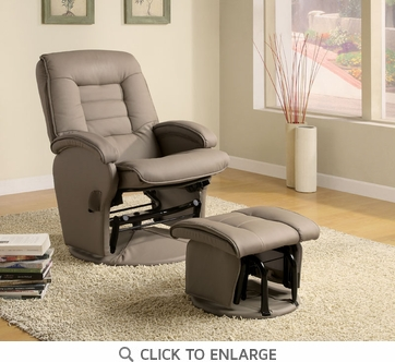 Beige Leather Like Vinyl Glider Recliner with Ottoman by Coaster 600166