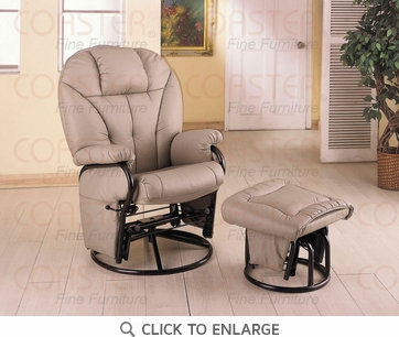 Beige Leatherette Glider Recliner with Ottoman by Coaster - 2645
