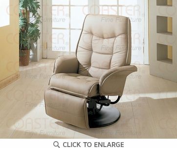 Berri Leatherette Swivel Chaise Recliner in Beige by Coaster - 7502