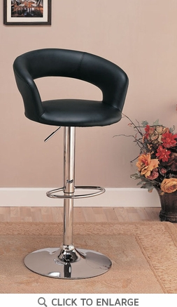 Black Adjustable Metal Bar Stool Chair by Coaster - 120346