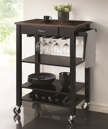 Black and Cherry Kitchen Cart with Butcher Block Top by Coaster 910026