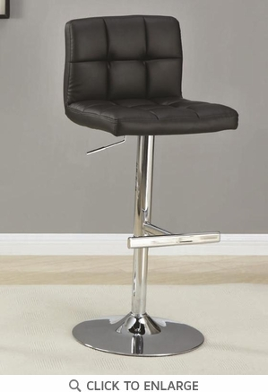 Black and Chrome Adjustable Bar Stool by Coaster 102554