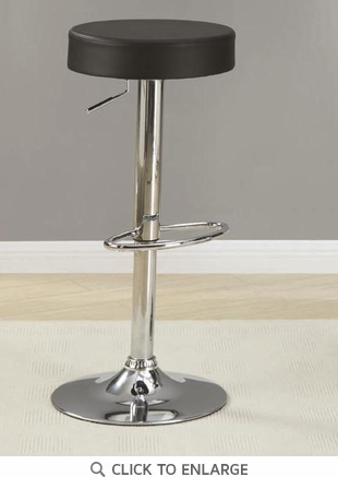 Black and Chrome Adjustable Counter to Bar Stool by Coaster 102558