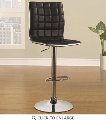 Black and Chrome Adjustable Swivel Bar Stool Chair by Coaster 122087 - Set of 2