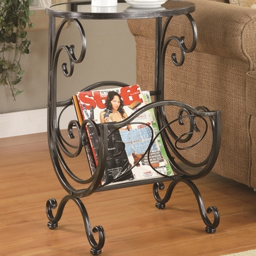 Black and Silver Accent  End Table with Magazine Rack by Coaster - 700401